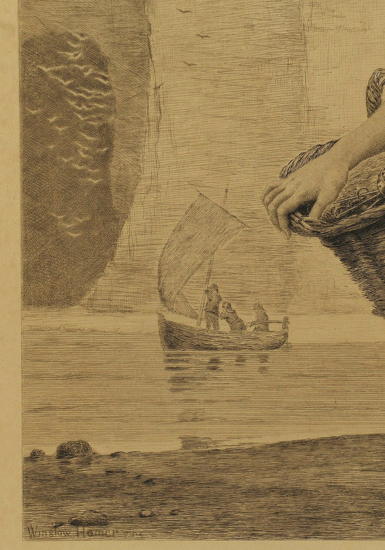 Lot 460: Winslow Homer etching, Teyssonnieres, A Voice From