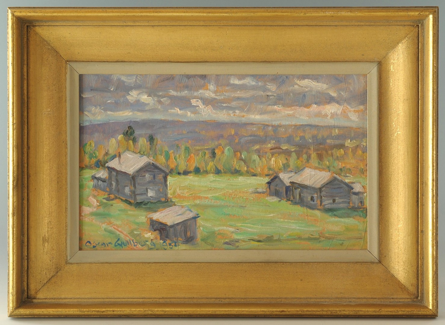 Lot 465: Oscar Gullberg Oil on Board Landscape