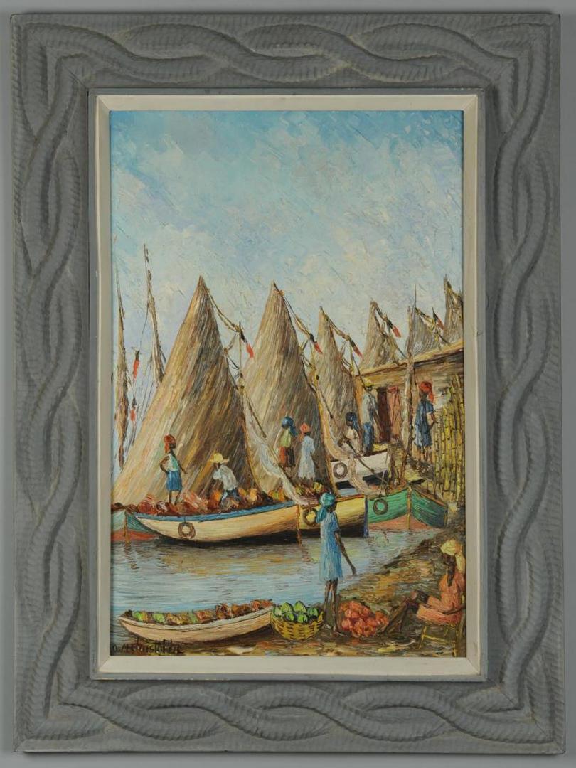 Lot 468: Osmin Christophe oil on canvas Port Scene