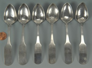 Lot 46: 6 Blount County, TN silver teaspoons by JB Wells