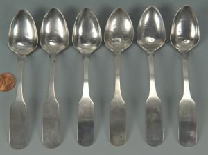 Lot 46: 6 Blount County, TN silver teaspoons by JB Wells