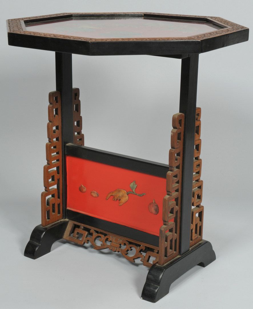 Lot 472: Chinese Table/Screen w/ Carved Hardstone Panels