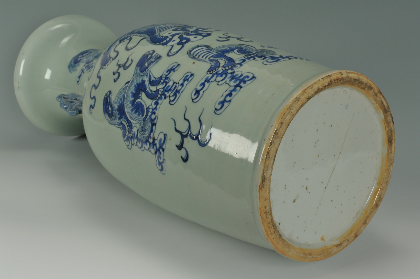 Lot 477: Large Chinese Blue and Celedon Temple Vase