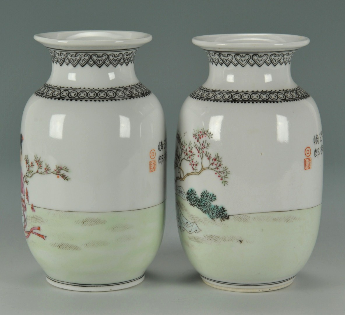 Lot 478: Pr. Famille Rose Republic Vases w/inscription