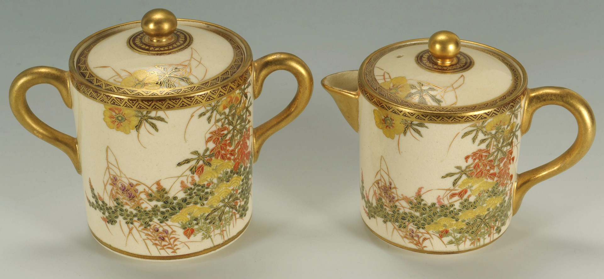 Lot 483: Japanese Satsuma Coffee Set, 9 pieces