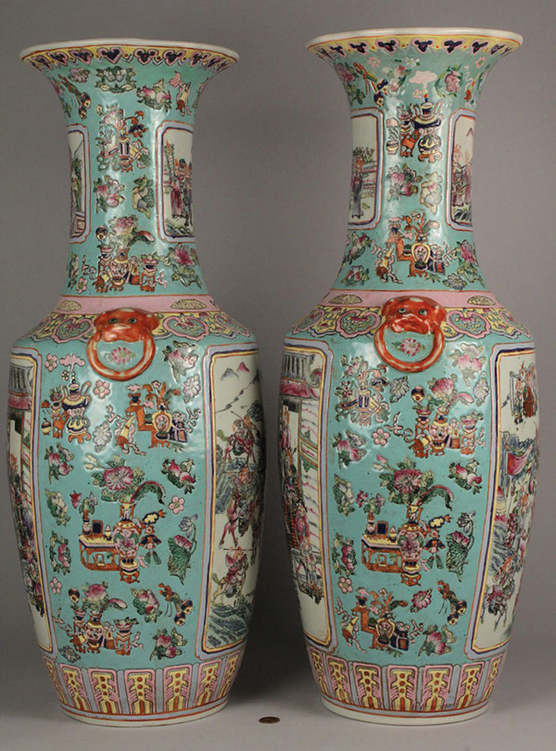Lot 487: Large Pair of Chinese Famille Rose Style Vases