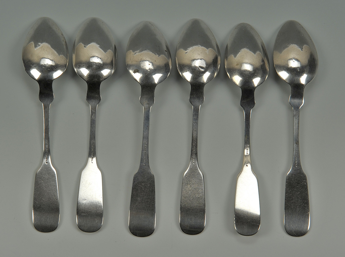 Lot 48: Six Nashville coin silver spoons, Gates & Pohlman