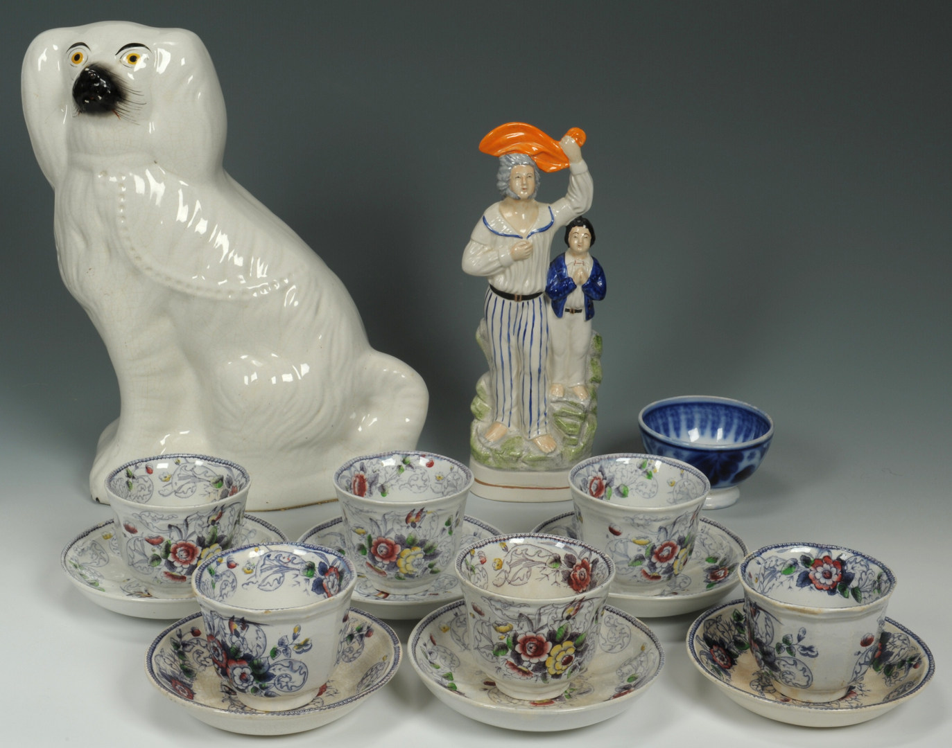 Lot 495: Large grouping of Staffordshire inc. figures