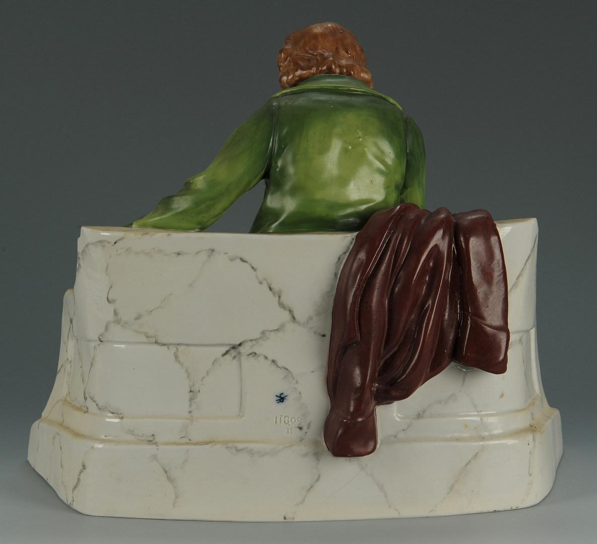 Lot 496: 2 German Porcelain Items, Toby Mug & Statue