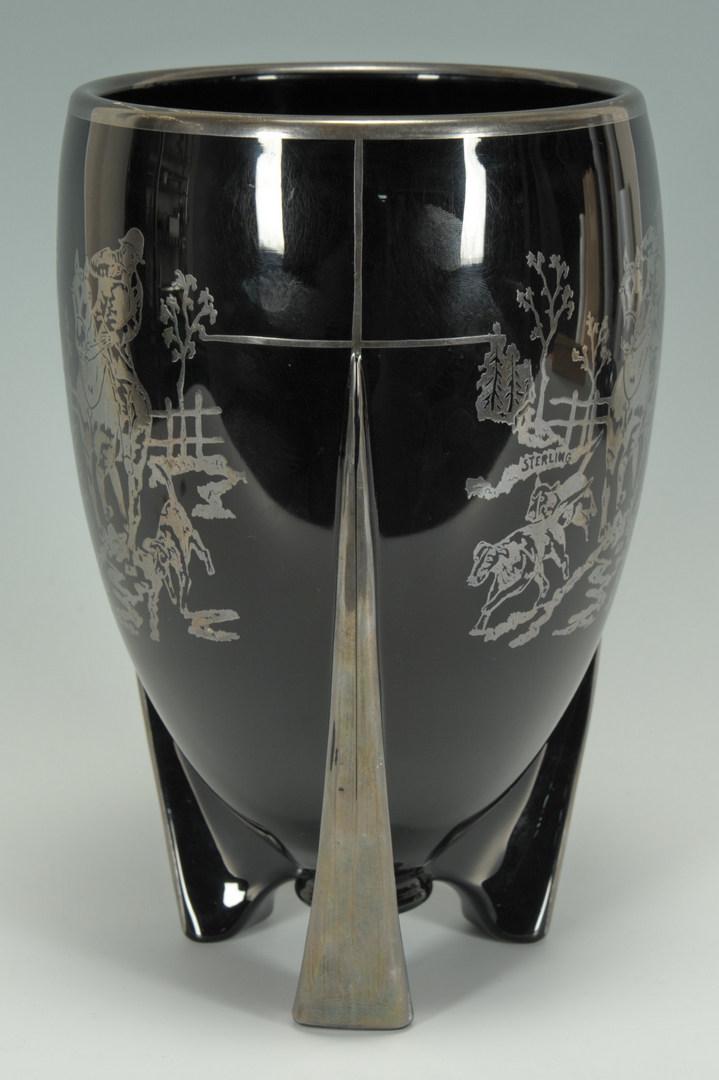 Lot 497: Art Deco Sterling Overlay Vase & Ashtray