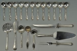 Lot 504: 20 Pieces Sterling Silver Flatware inc. soup spoon