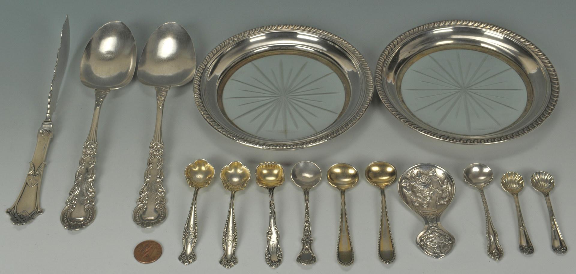 Lot 506: Sterling & Coin Flatware, 15 pcs inc. salt spoons