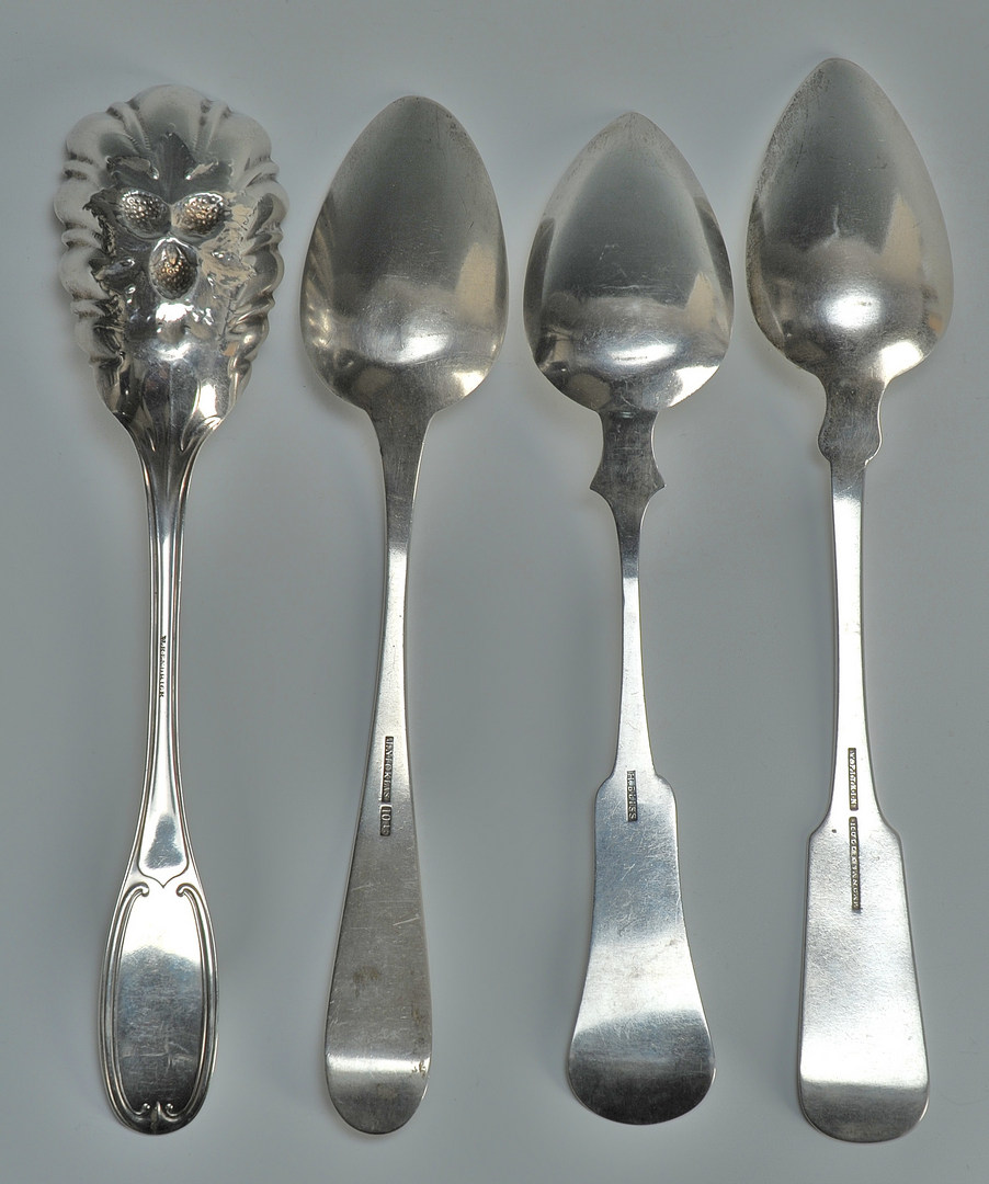 Lot 51: Four coin silver spoons of Southern interest