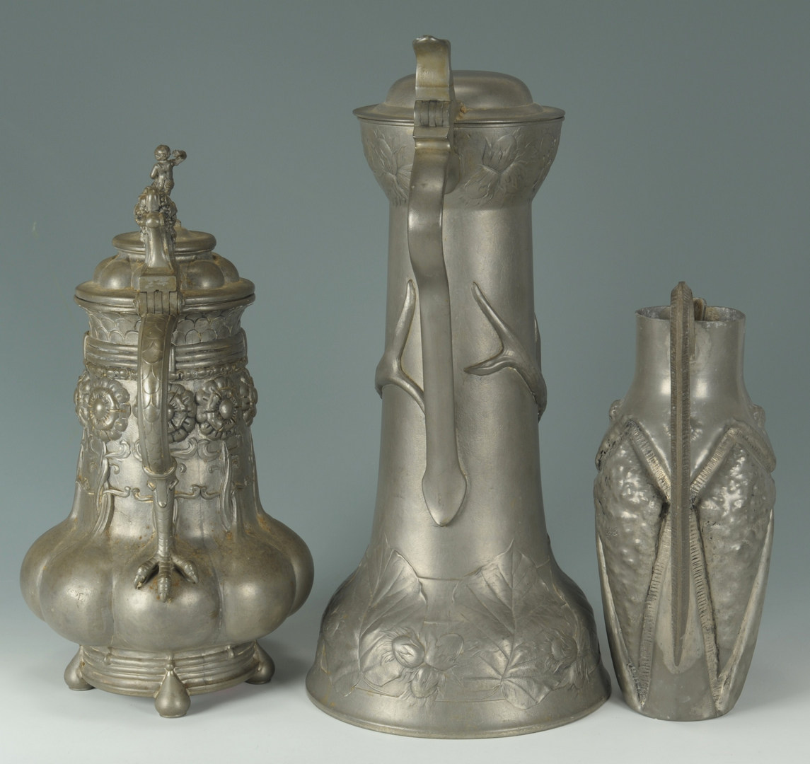 Lot 523: Three Art Nouveau Pewter Pitchers