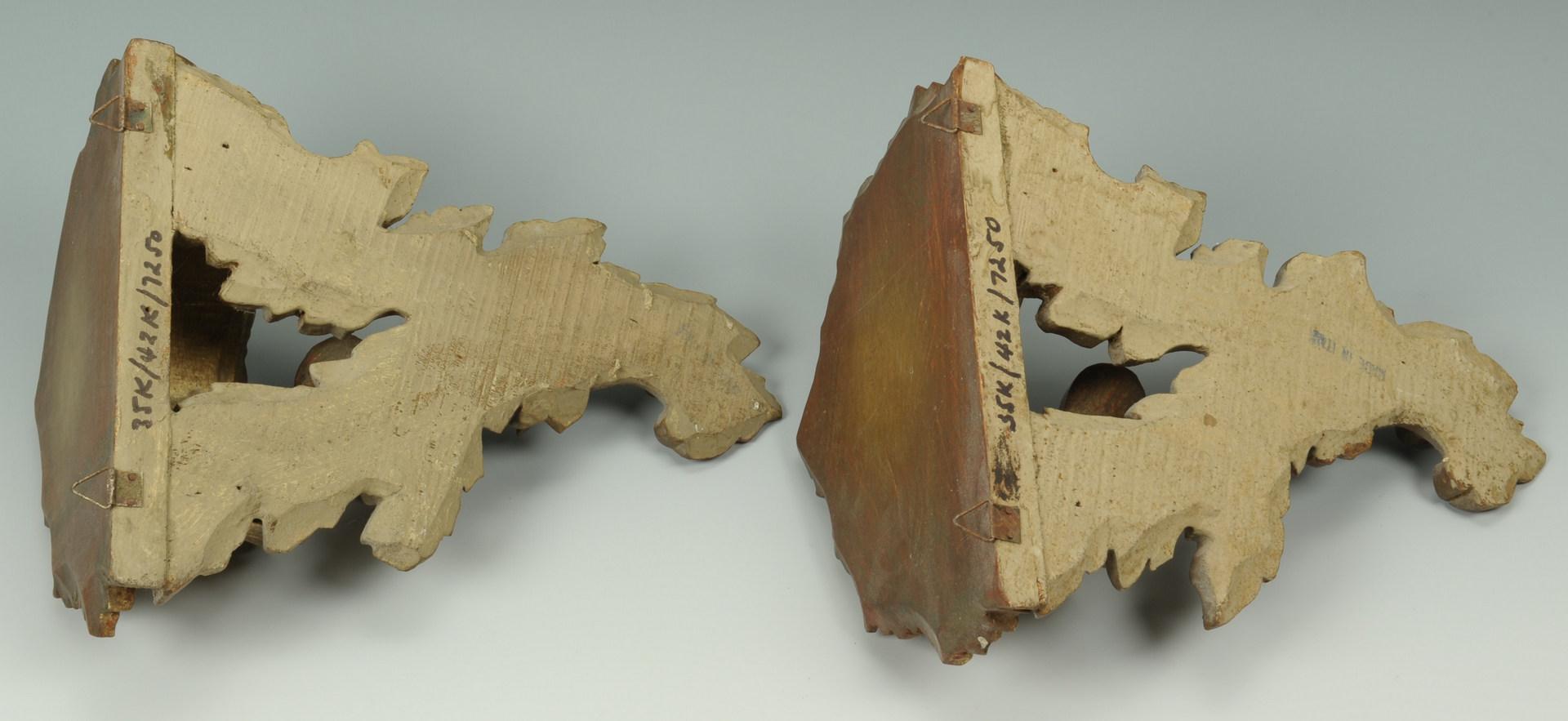 Lot 525: Pair Italian Gilt Wood Sconces