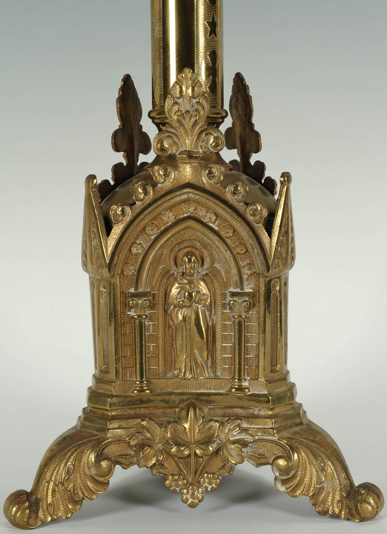 Lot 526: A Large Brass Tripod Pricket Altar Candlestick