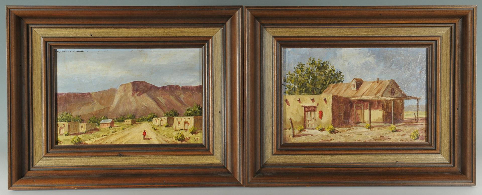 Lot 528: Pair of Southwestern scenes, oil on board