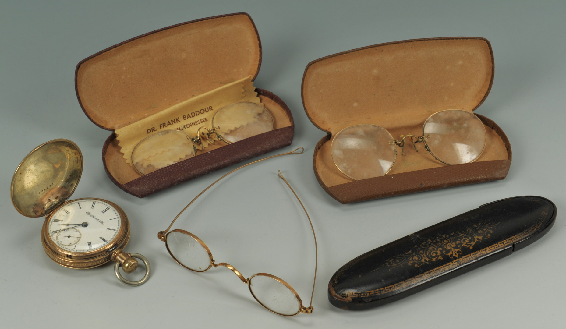 Lot 543: 3 pairs antique spectacles and a pocketwatch