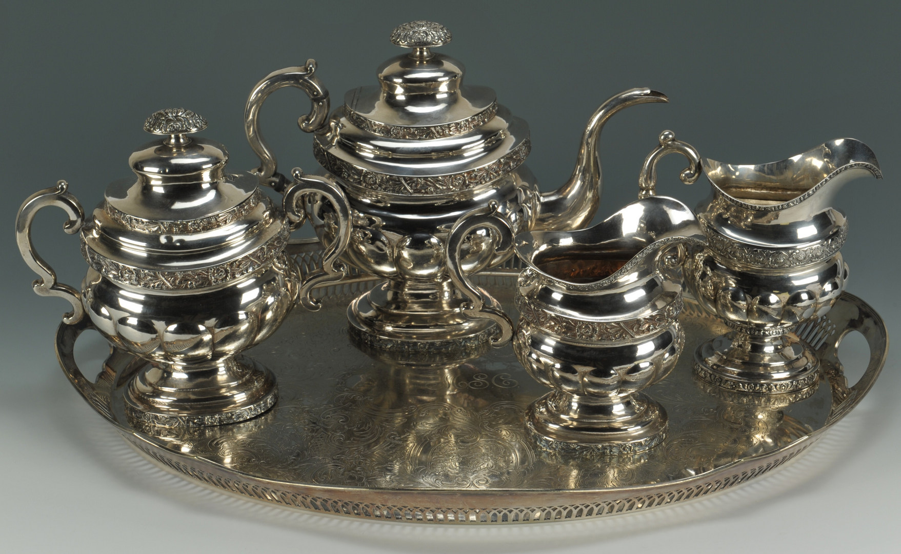 Lot 54: New York Coin Silver Tea Service plus tray and cre