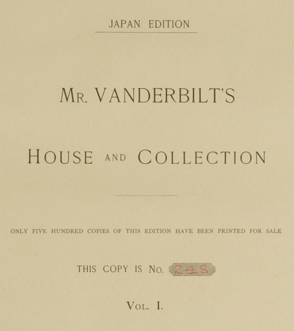 Lot 554: 4 vol. set, Mr. Vanderbilt's House and Collection