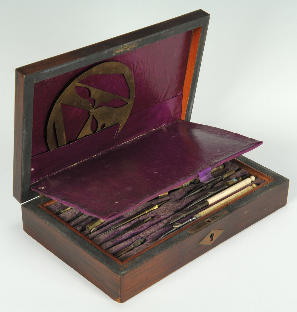 Lot 563: Cased set of architect's tools, Compas Superieurs