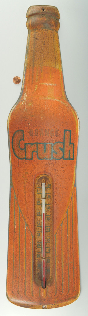 Lot 578: Vintage Orange Crush Bottle Sign w/ Thermometer