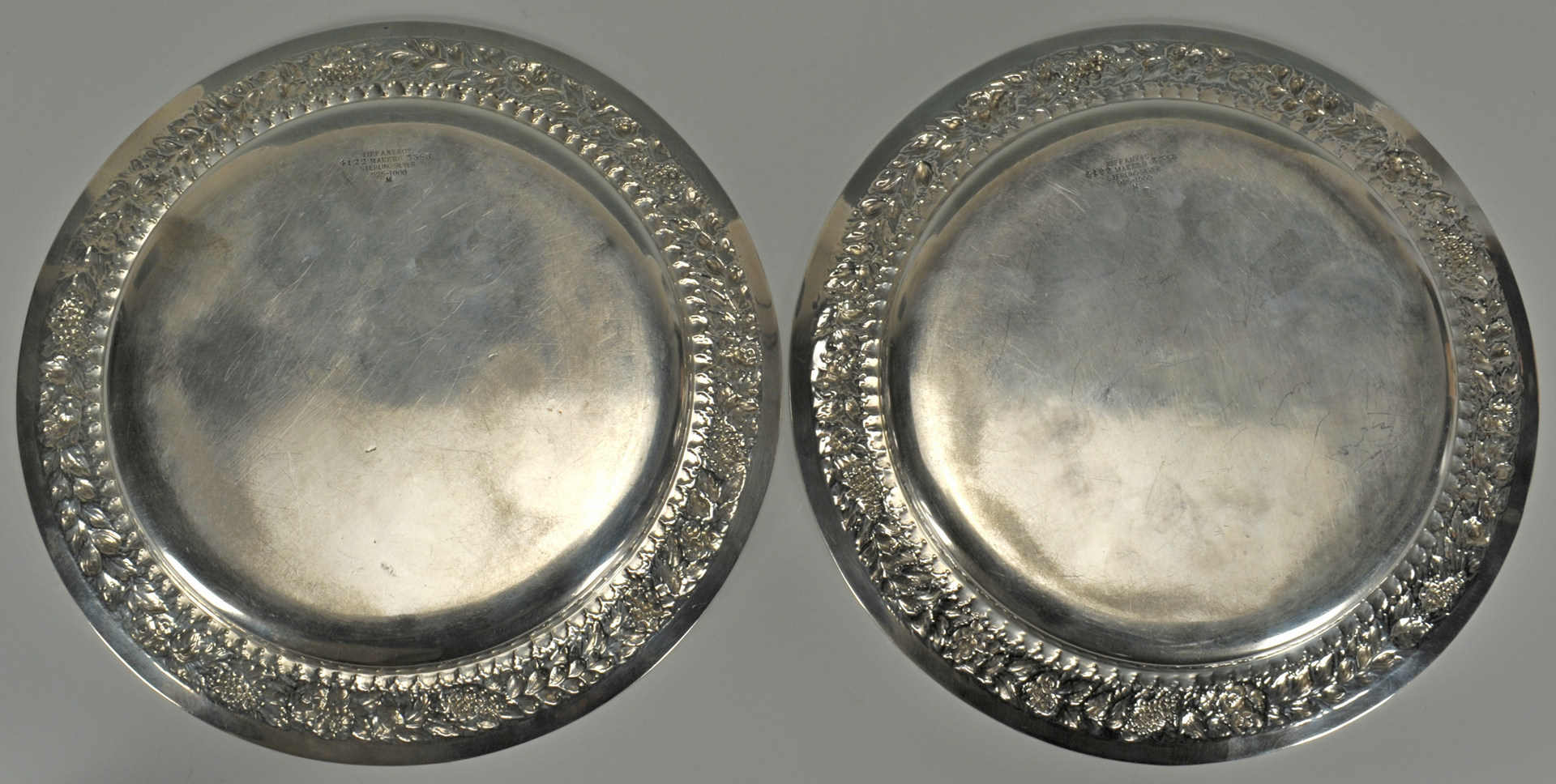 Lot 57: Pair of Tiffany Sterling Plates or Chargers
