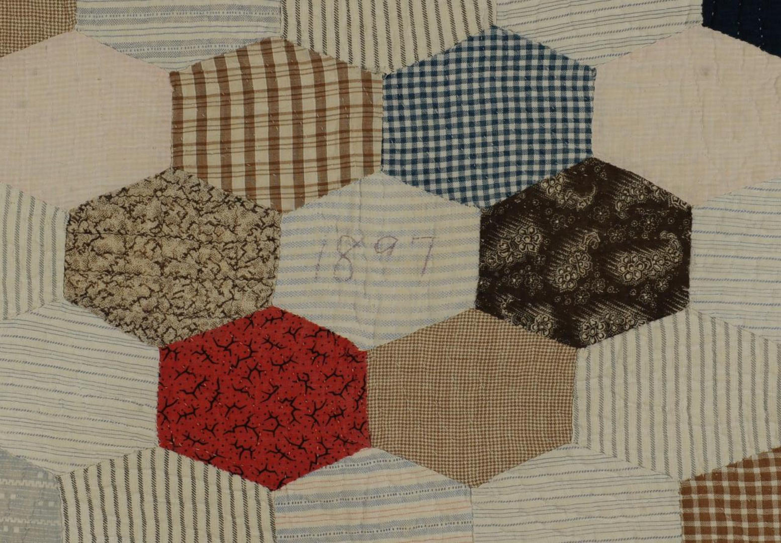 Lot 582: 2 SC Quilts, Hexagonal Block Pattern & Crib