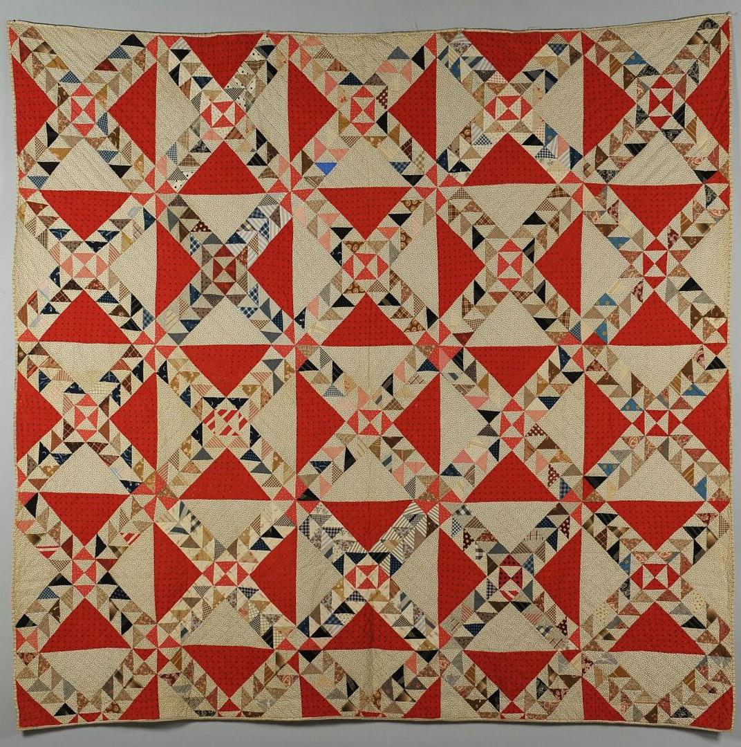Lot 583: SC quilt, c. 1890, ocean waves w/ watermelon print