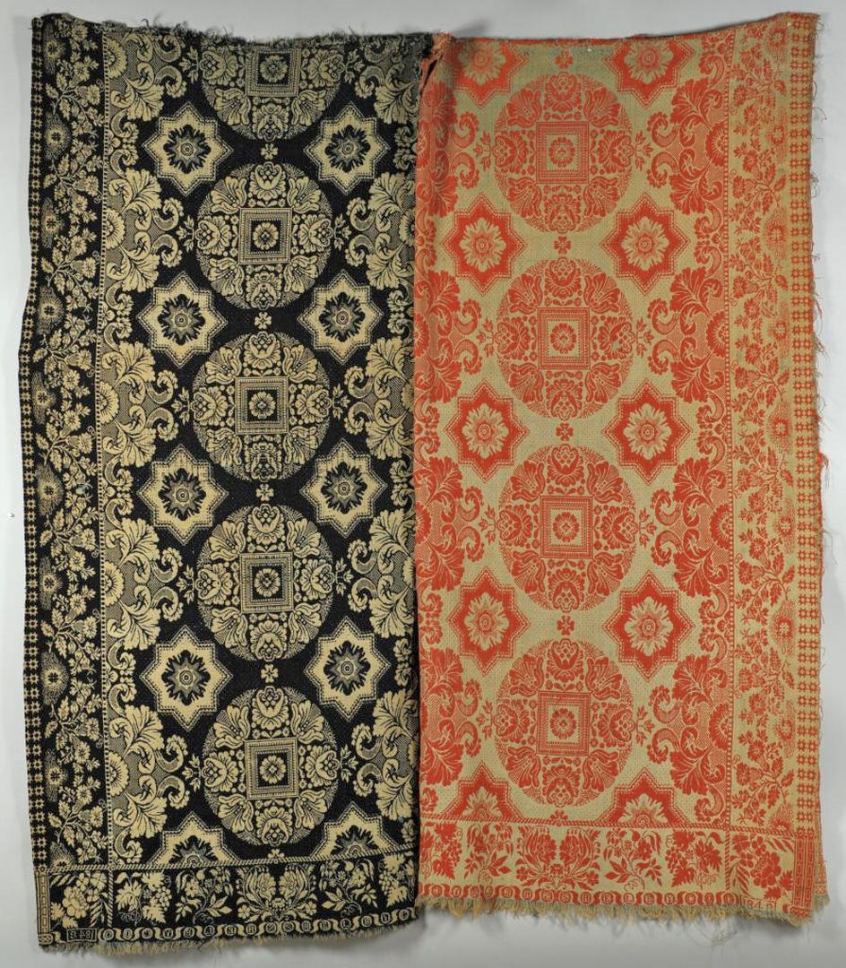 Lot 586: 2 19th c. Jacquard Coverlets & Dye Recipe, poss KY