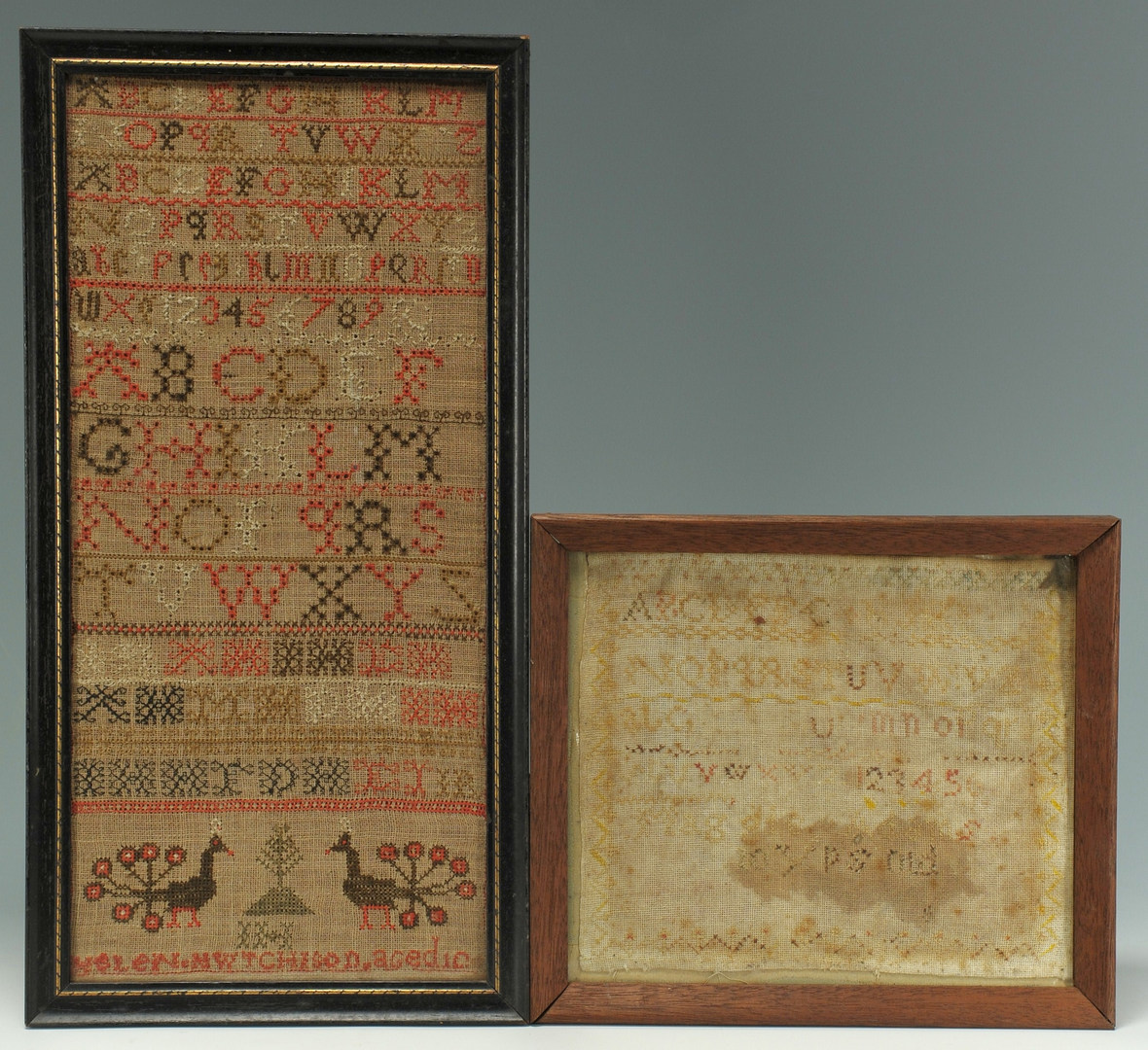 Lot 587: Two 19th c. samplers, one with peacocks