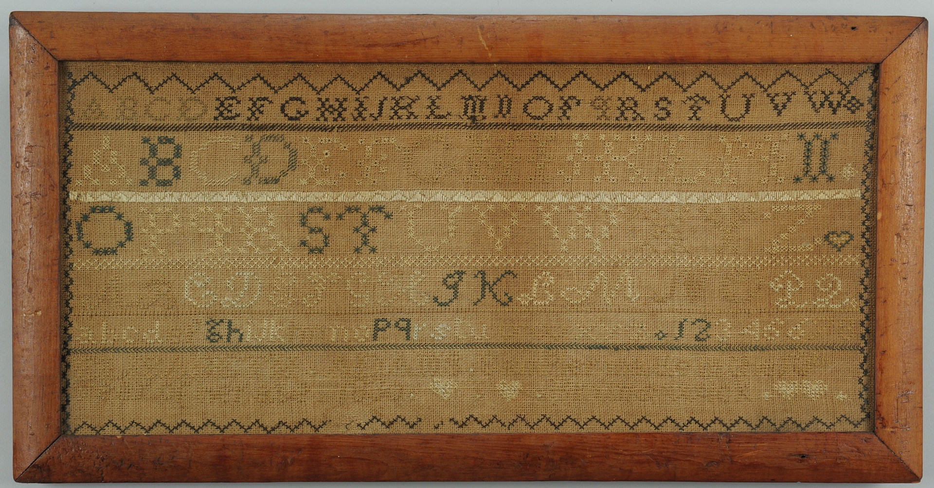 Lot 588: 2 American 19th c. signed schoolgirl Samplers