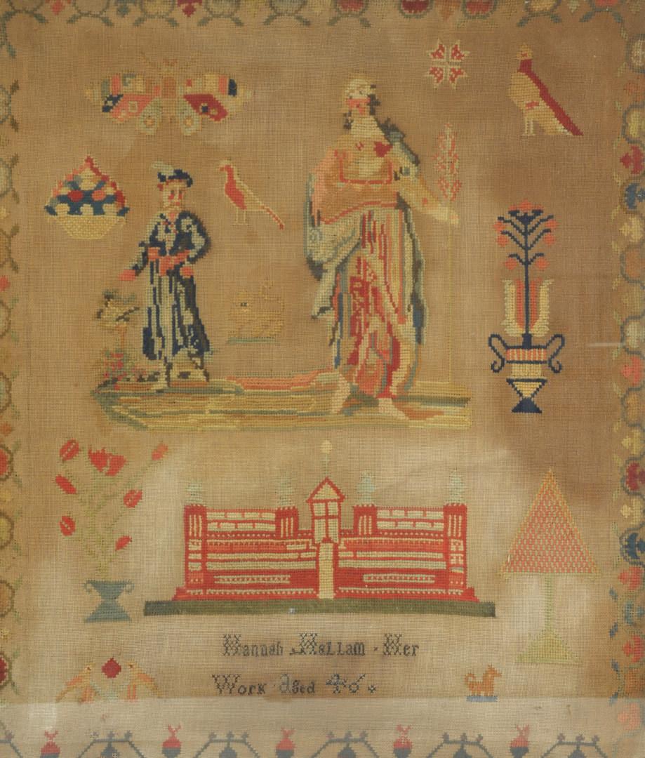 Lot 590: 19th century English Needlework Sampler