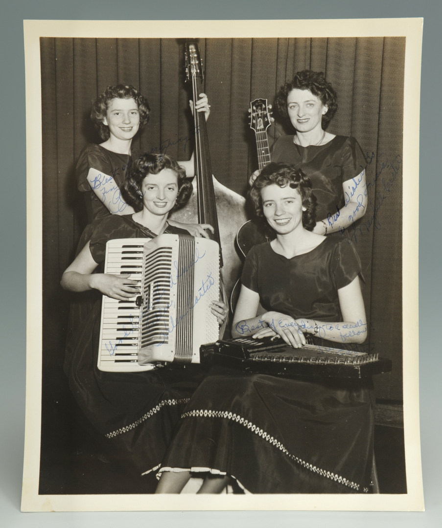 Lot 592: Signed 8×10 Carter Sisters Photograph