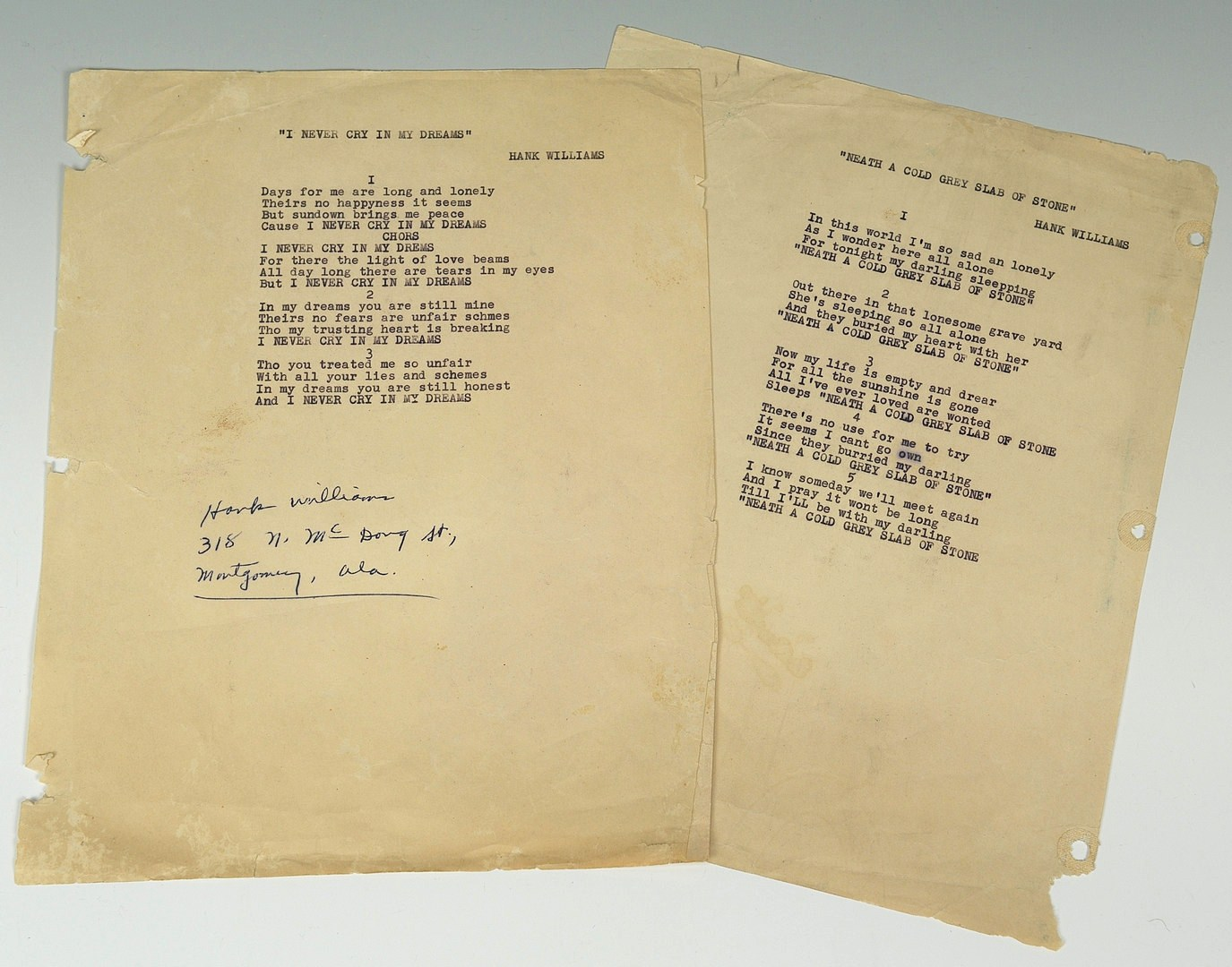 Lot 593: Hank Williams Sr signed song lyrics, 1 unpublished