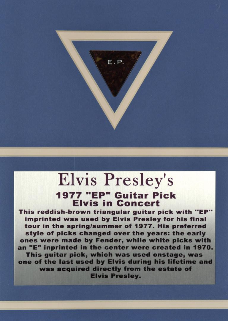 Lot 596: Elvis Presley used 1977 Guitar Pick