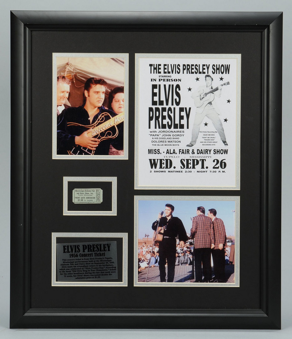Lot 597: Elvis Presley Framed Concert Ticket & Memorabilia
