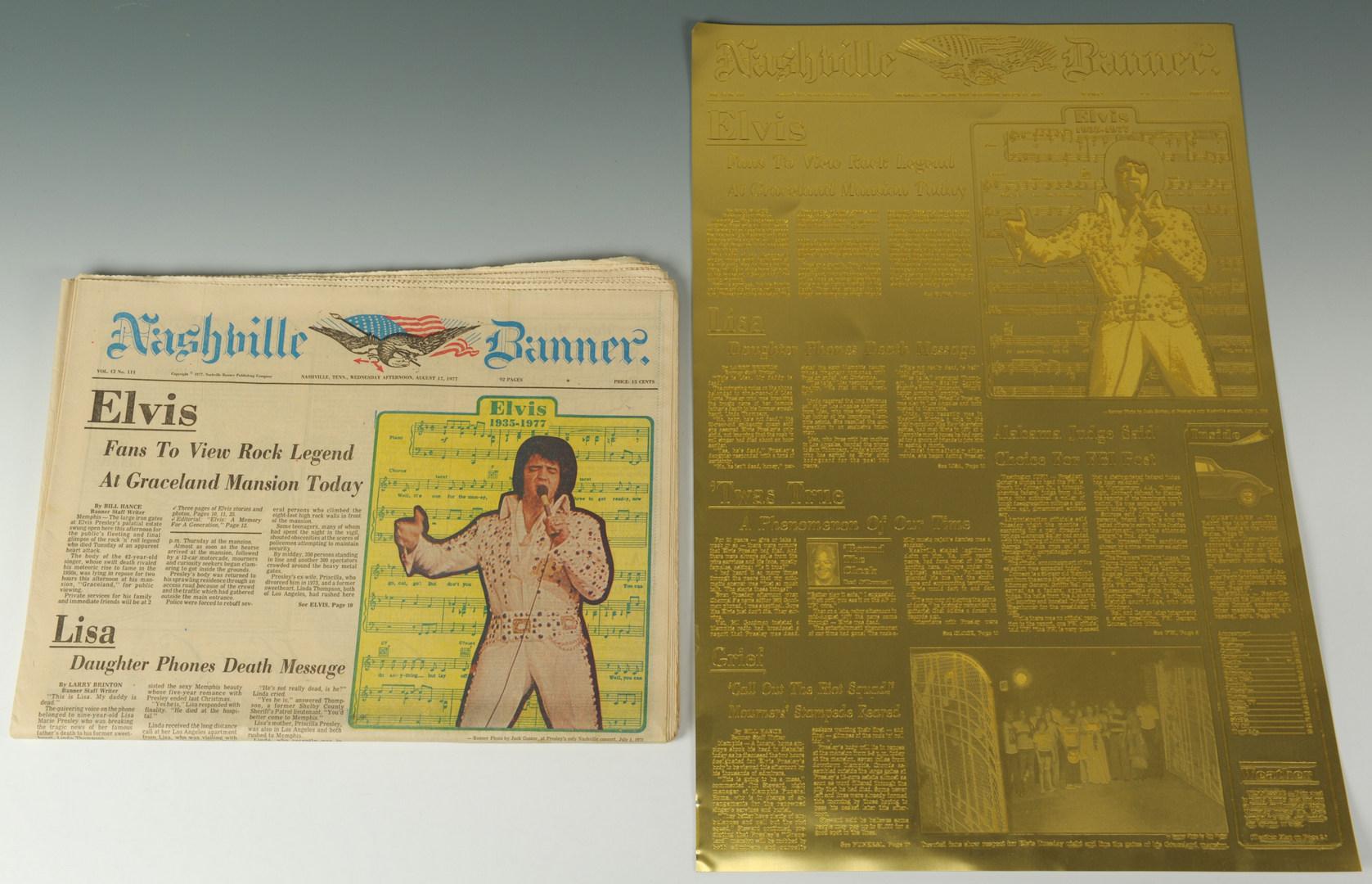 Lot 598: Nashville Banner Front Plate Elvis Presley Death