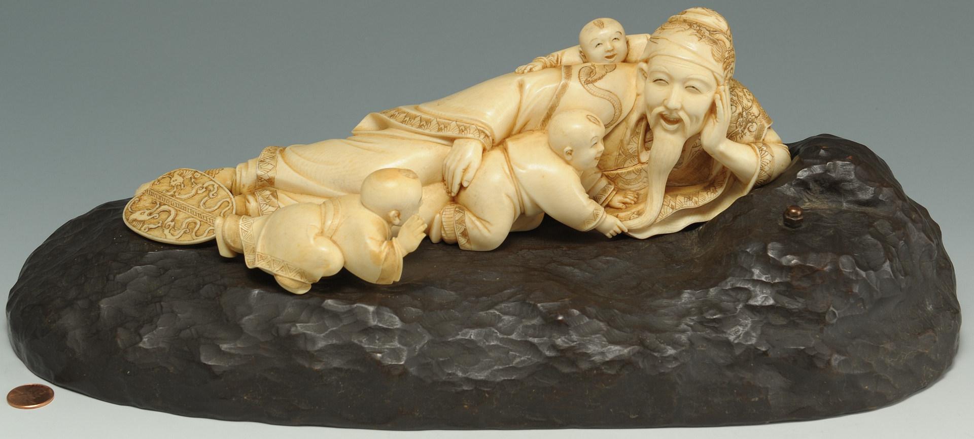 Lot 5: Large Japanese Figural Ivory Okimono on stand