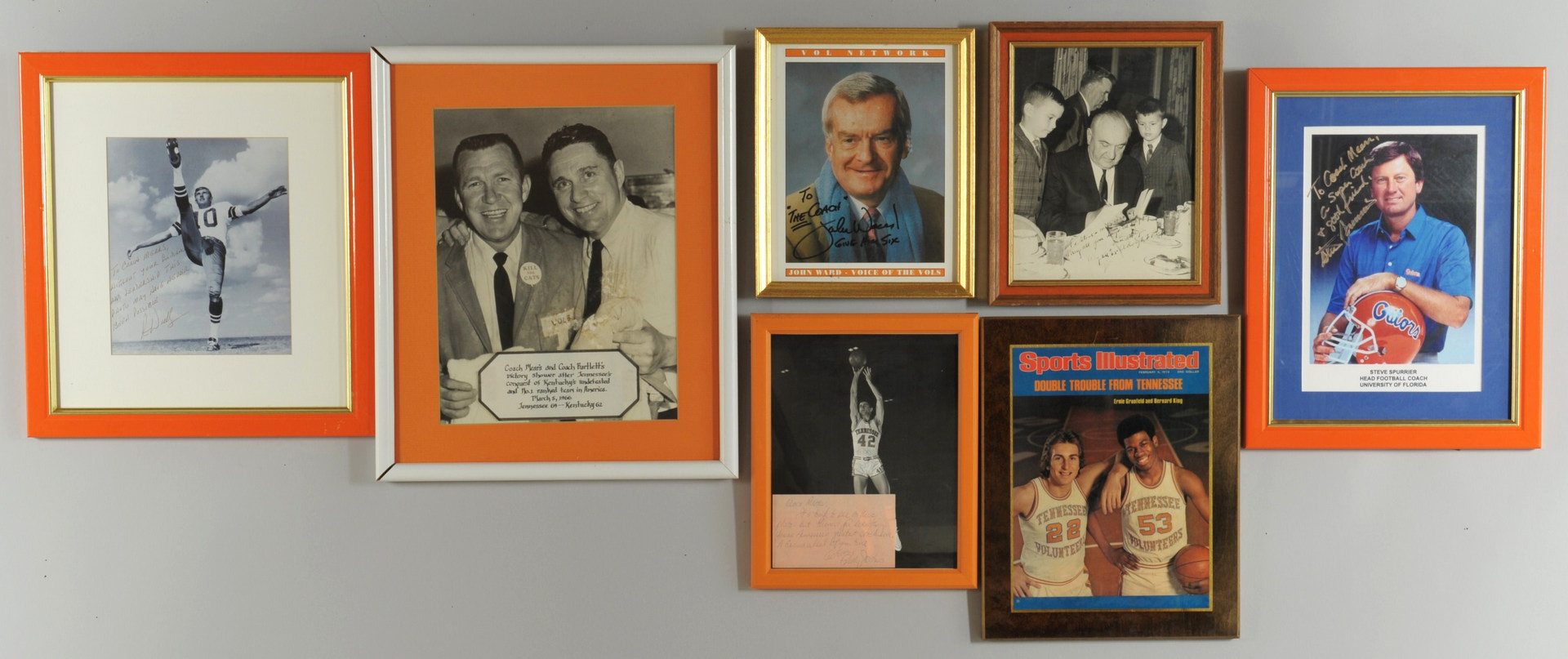 Lot 603: 7 small framed photos given to Coach Ray Mears, mo