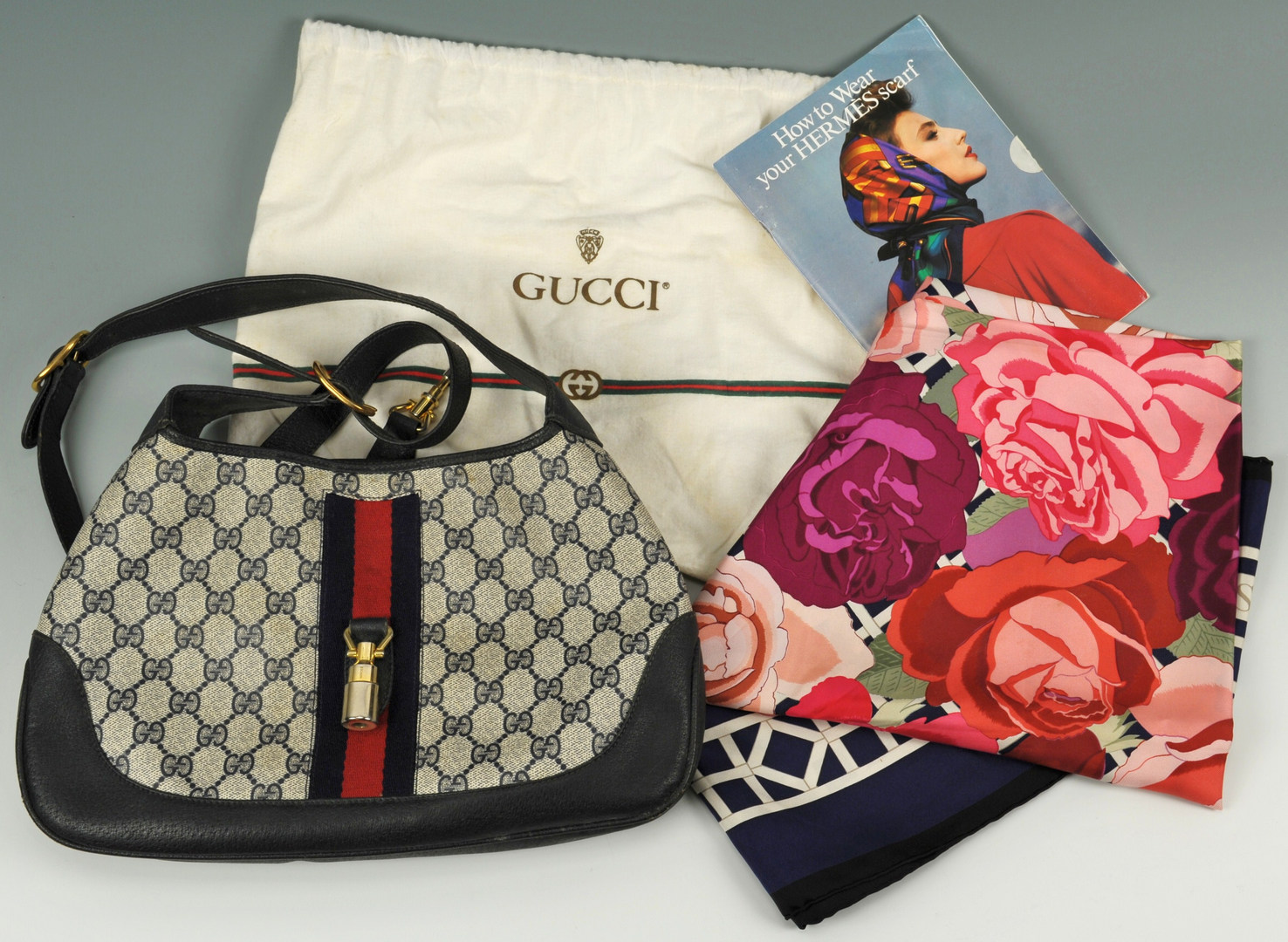 Lot 607: Hermes Scarf & Book, Gucci purse