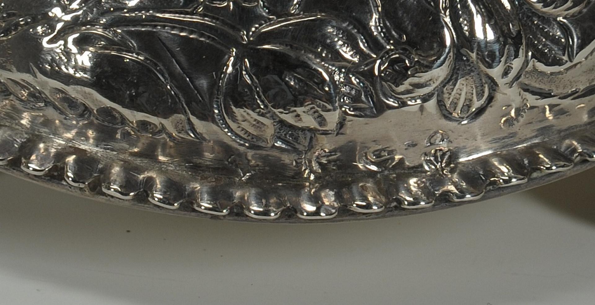Lot 61: 4 European standing silver salt cellars & 1 spoon