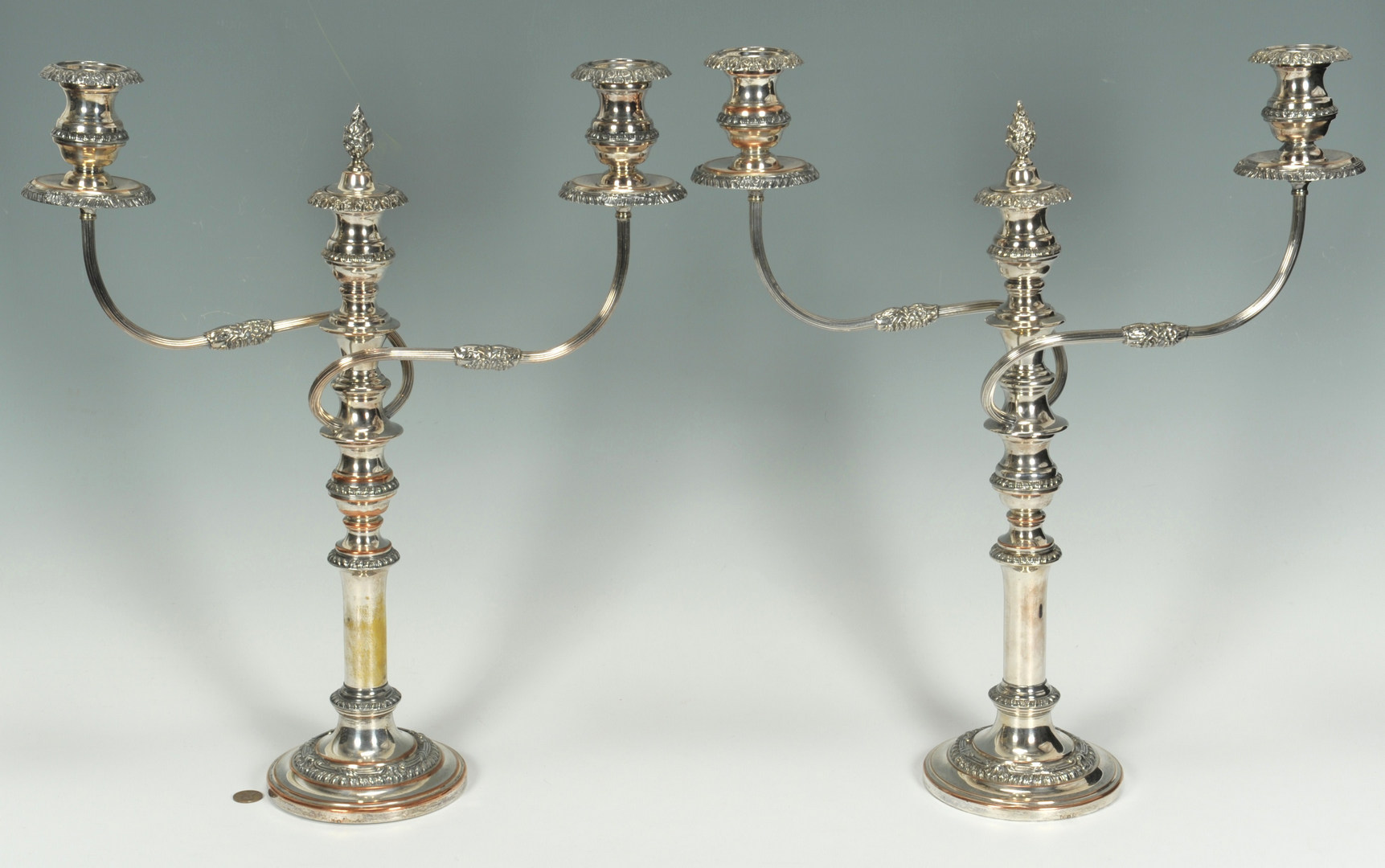 Lot 620: Pair Silver on Copper banquet candelabra
