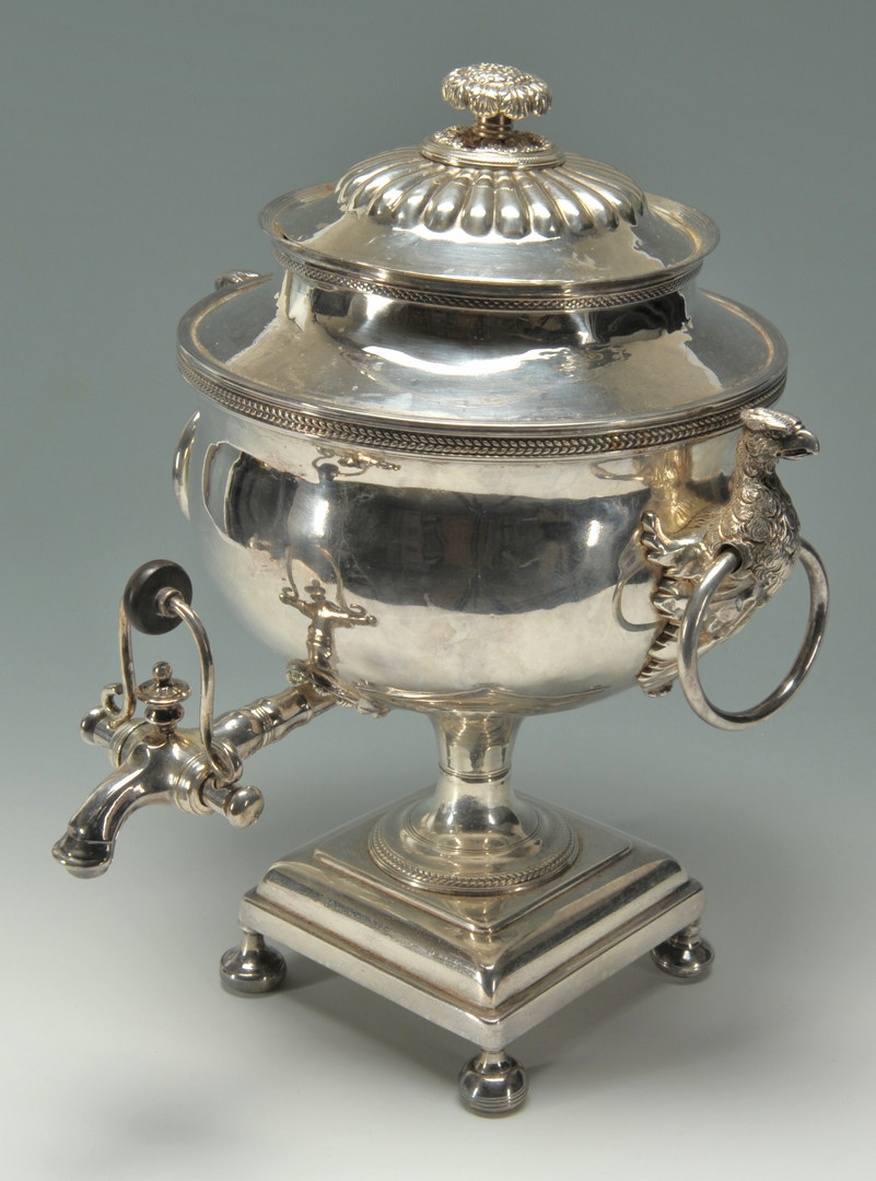 Lot 622: Old Sheffield silver plated urn with griffin handl