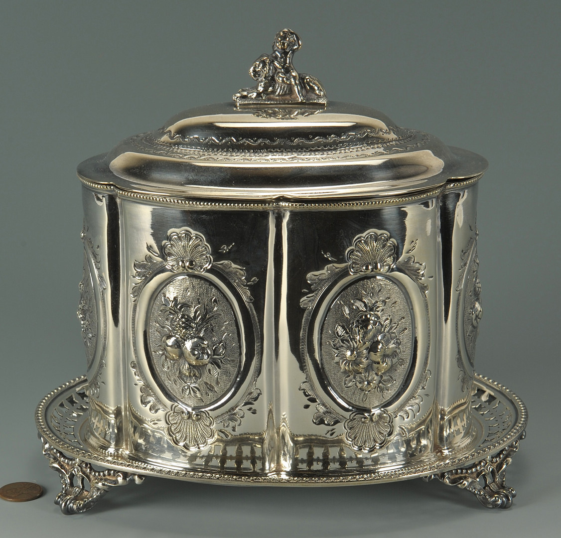 Lot 623: Victorian silverplated biscuit barrel