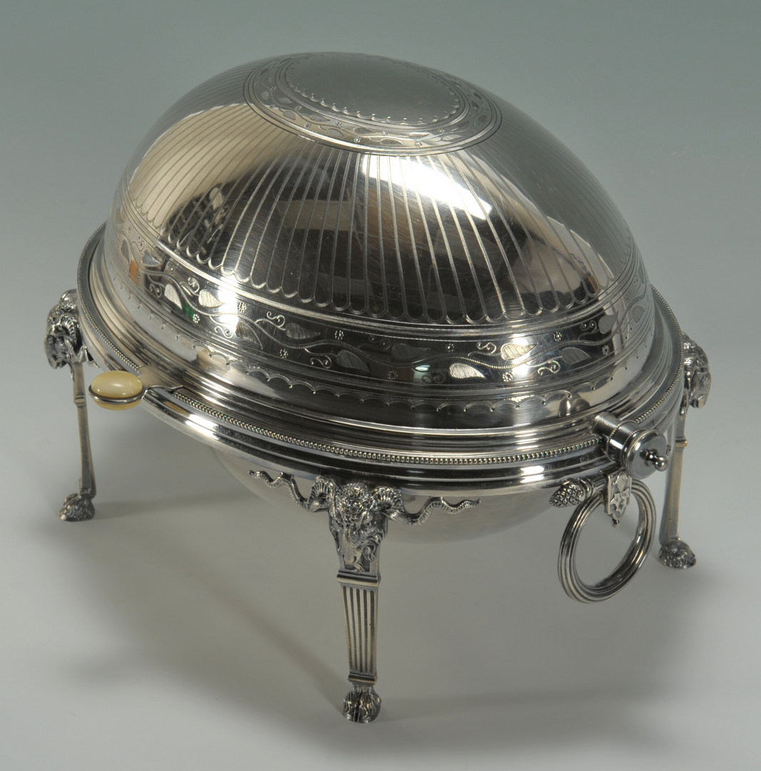 Lot 624: Victorian Revolving Serving Dish with ram heads