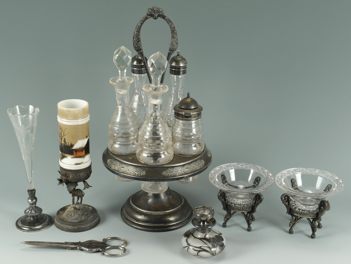 Lot 625: Six Victorian glass and silver items, most plated