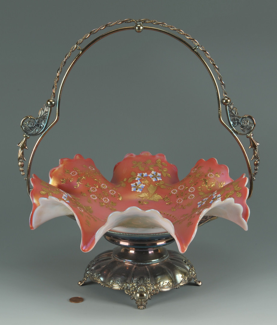 Lot 626: Victorian Silverplated Bride's Basket, Moser style