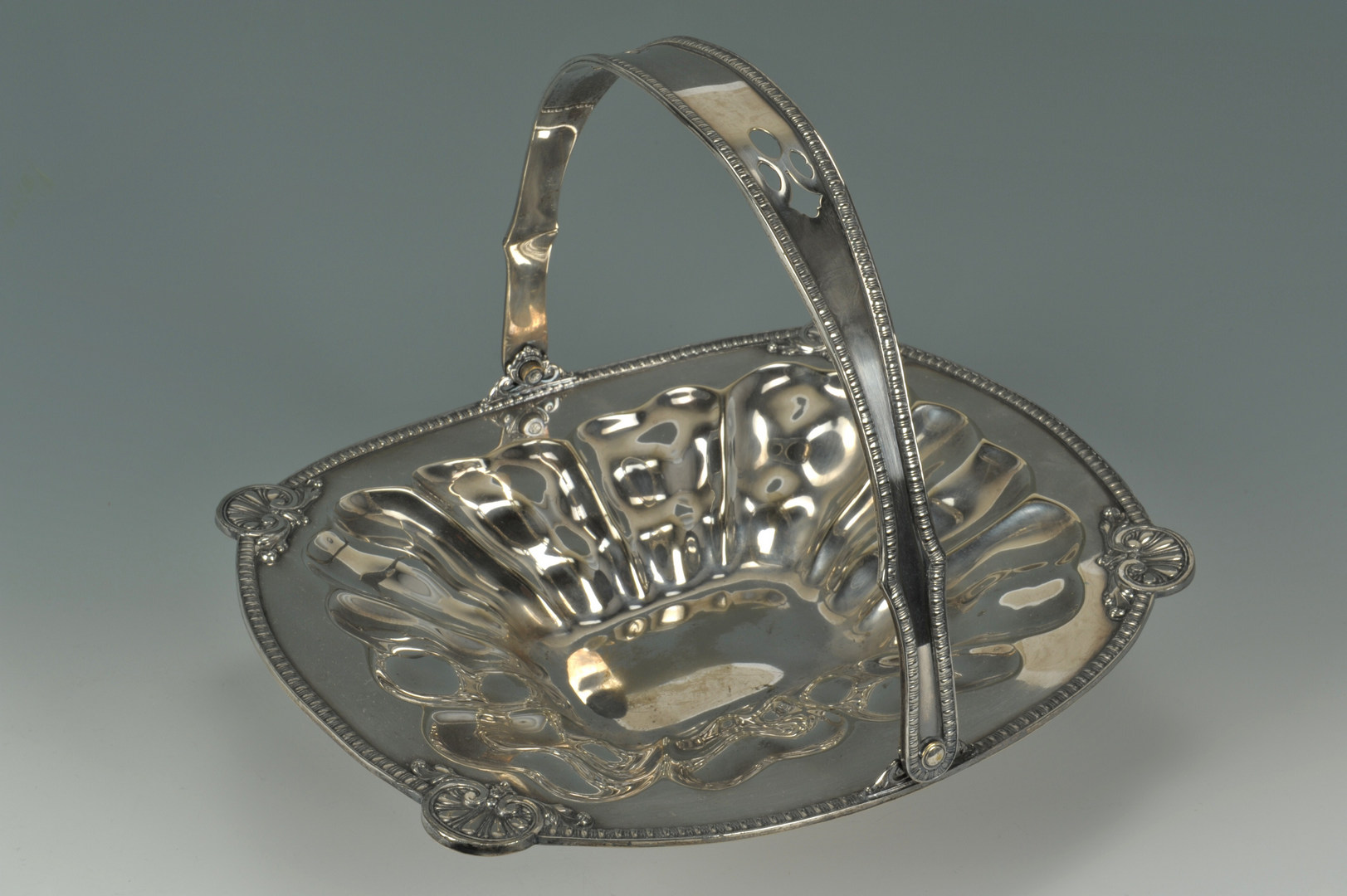 Lot 628: Victorian silverplated butter dome, basket and dis