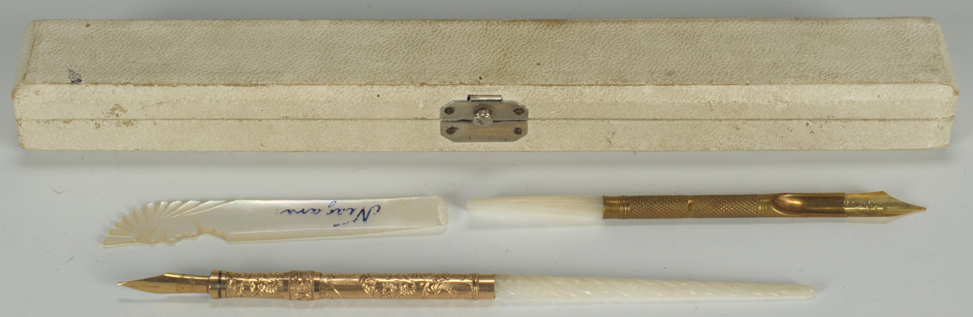 Lot 631: Asst'd silverplate, mother of pearl table items